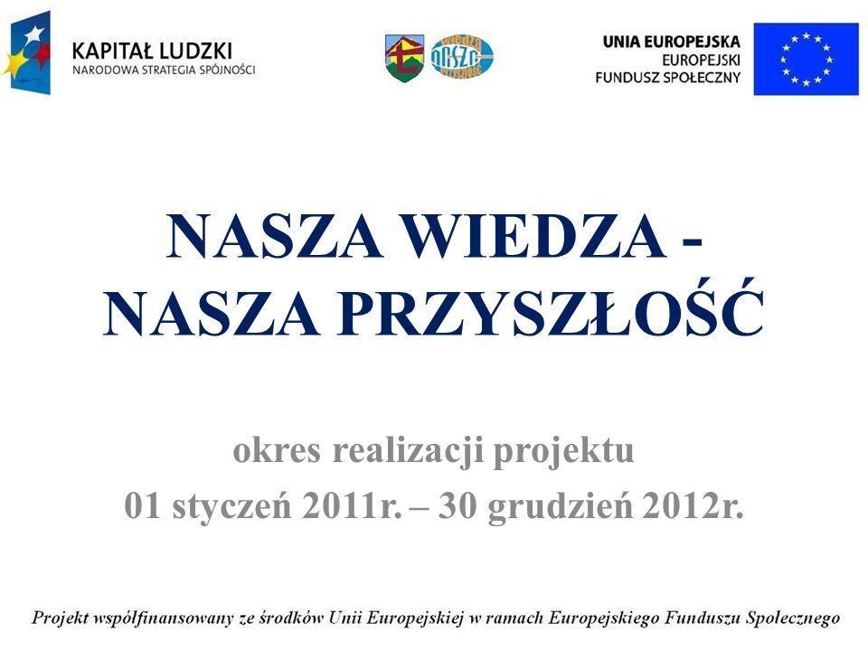 NASZA WIEDZA - NASZA PRZYSZŁOŚĆ okres realizacji projektu 01 styczeń 2011r. – 30 grudzień 2012r.