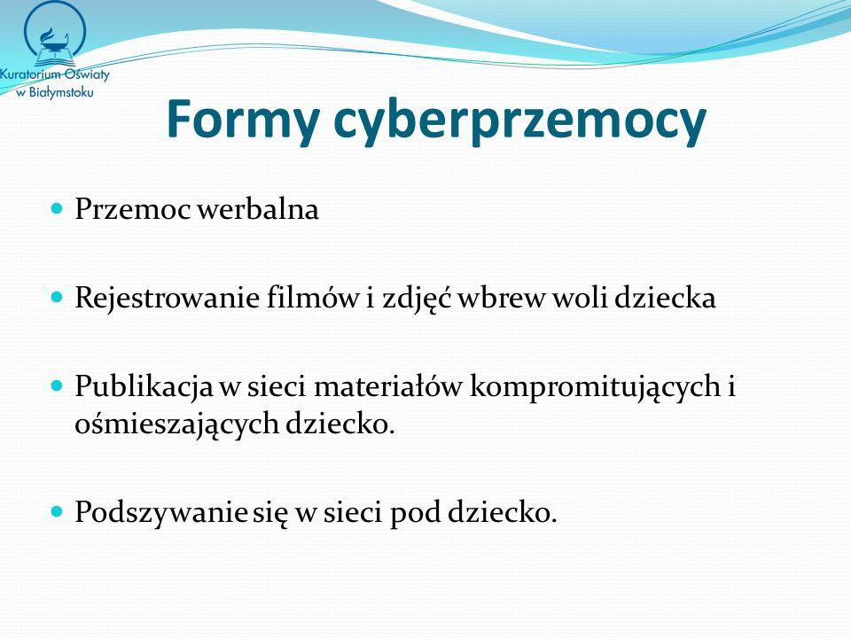 Formy cyberprzemocy Przemoc werbalna Rejestrowanie filmów i zdjęć wbrew woli dziecka Publikacja w sieci materiałów kompromitujących i ośmieszających dziecko.