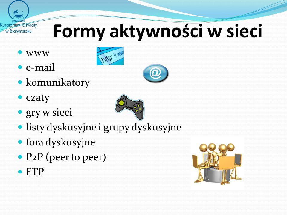 Formy aktywności w sieci www e-mail komunikatory czaty gry w sieci listy dyskusyjne i grupy dyskusyjne fora dyskusyjne P2P (peer to peer) FTP