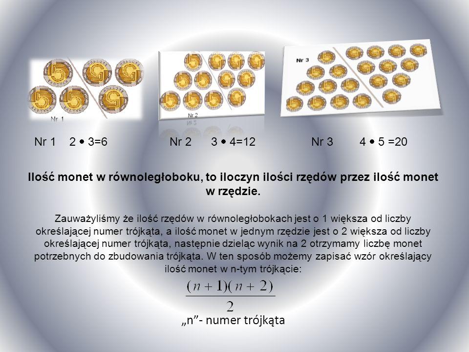 Rozwiązanie: Zbudowaliśmy trójkąt i dołożyliśmy identyczny trójkąt (monety po prawej stronie kreski) do już istniejącego ( nr 1 ), tak by powstał równ