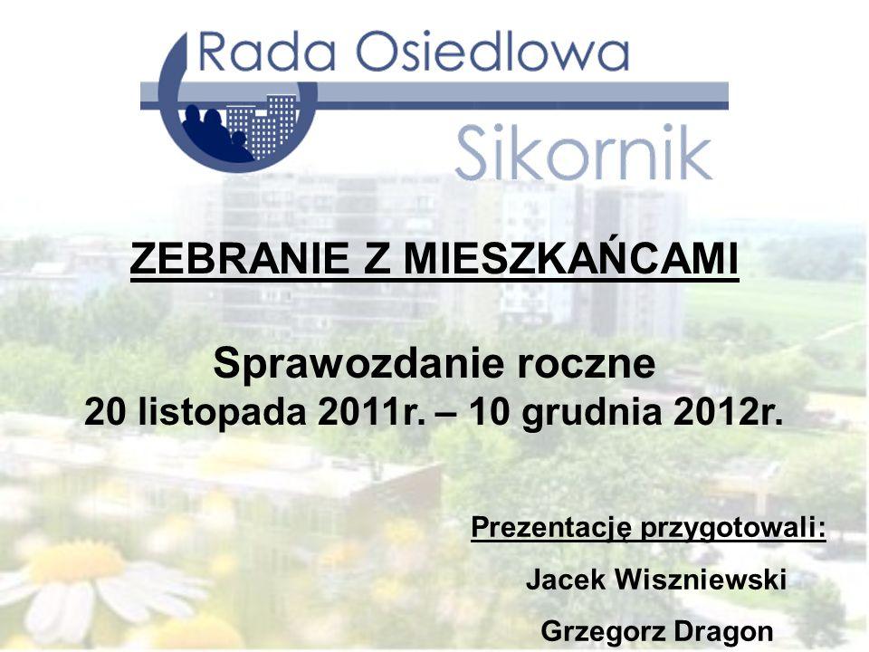 Prezentację przygotowali: Jacek Wiszniewski Grzegorz Dragon ZEBRANIE Z MIESZKAŃCAMI Sprawozdanie roczne 20 listopada 2011r. – 10 grudnia 2012r.