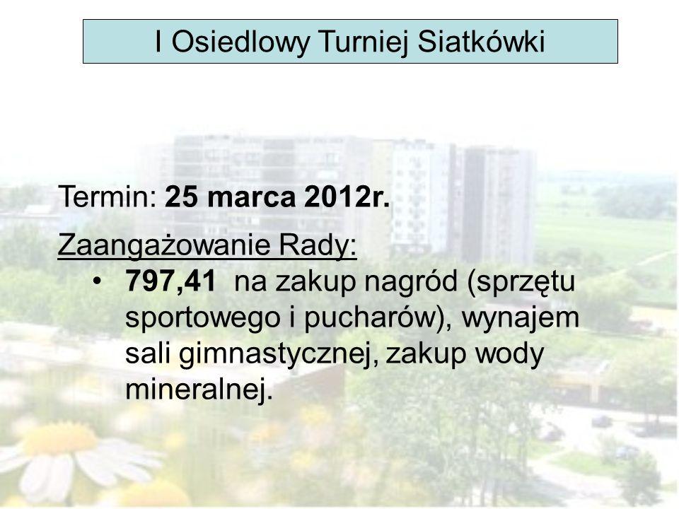 I Osiedlowy Turniej Siatkówki Termin: 25 marca 2012r. Zaangażowanie Rady: 797,41 na zakup nagród (sprzętu sportowego i pucharów), wynajem sali gimnast