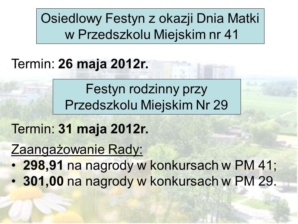 Osiedlowy Festyn z okazji Dnia Matki w Przedszkolu Miejskim nr 41 Festyn rodzinny przy Przedszkolu Miejskim Nr 29 Termin: 26 maja 2012r. Termin: 31 ma
