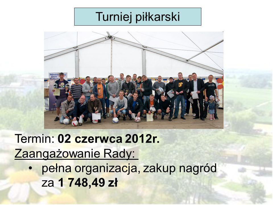 Turniej piłkarski Termin: 02 czerwca 2012r. Zaangażowanie Rady: pełna organizacja, zakup nagród za 1 748,49 zł