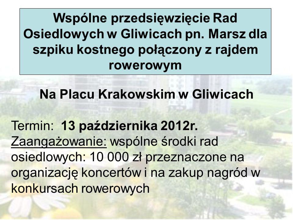 Wspólne przedsięwzięcie Rad Osiedlowych w Gliwicach pn. Marsz dla szpiku kostnego połączony z rajdem rowerowym Na Placu Krakowskim w Gliwicach Termin: