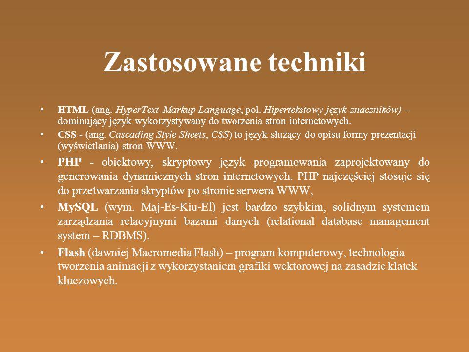 Zastosowane techniki HTML (ang. HyperText Markup Language, pol.