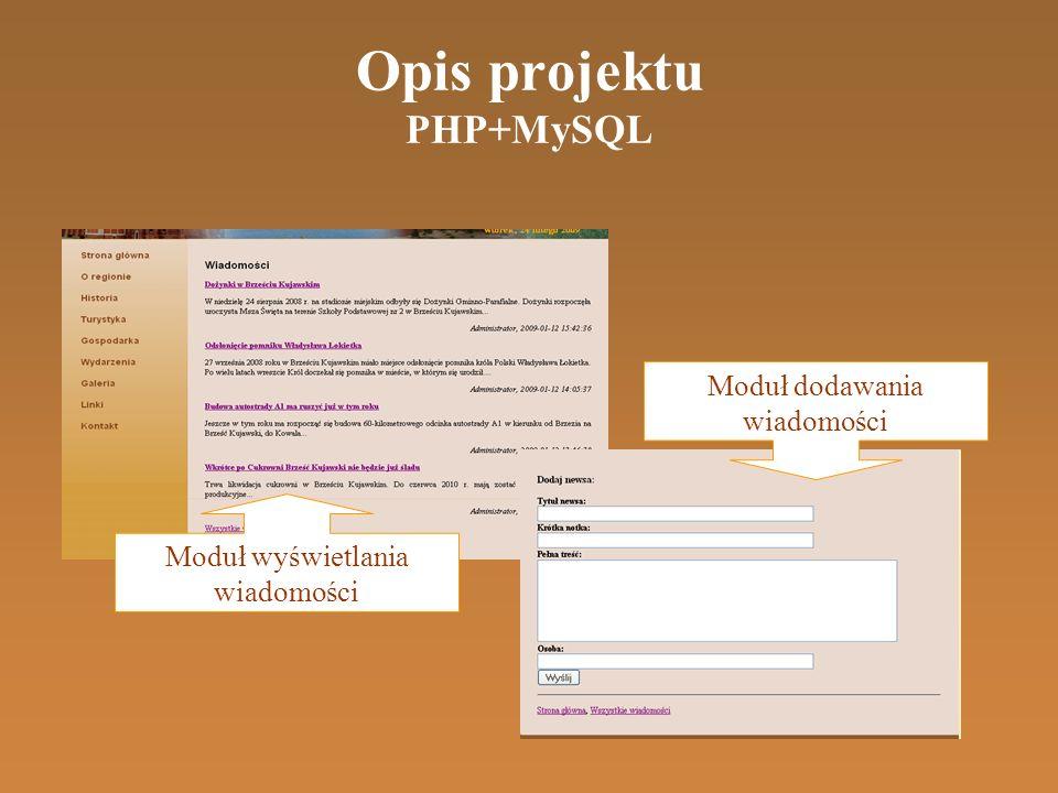Opis projektu PHP+MySQL Moduł wyświetlania wiadomości Moduł dodawania wiadomości