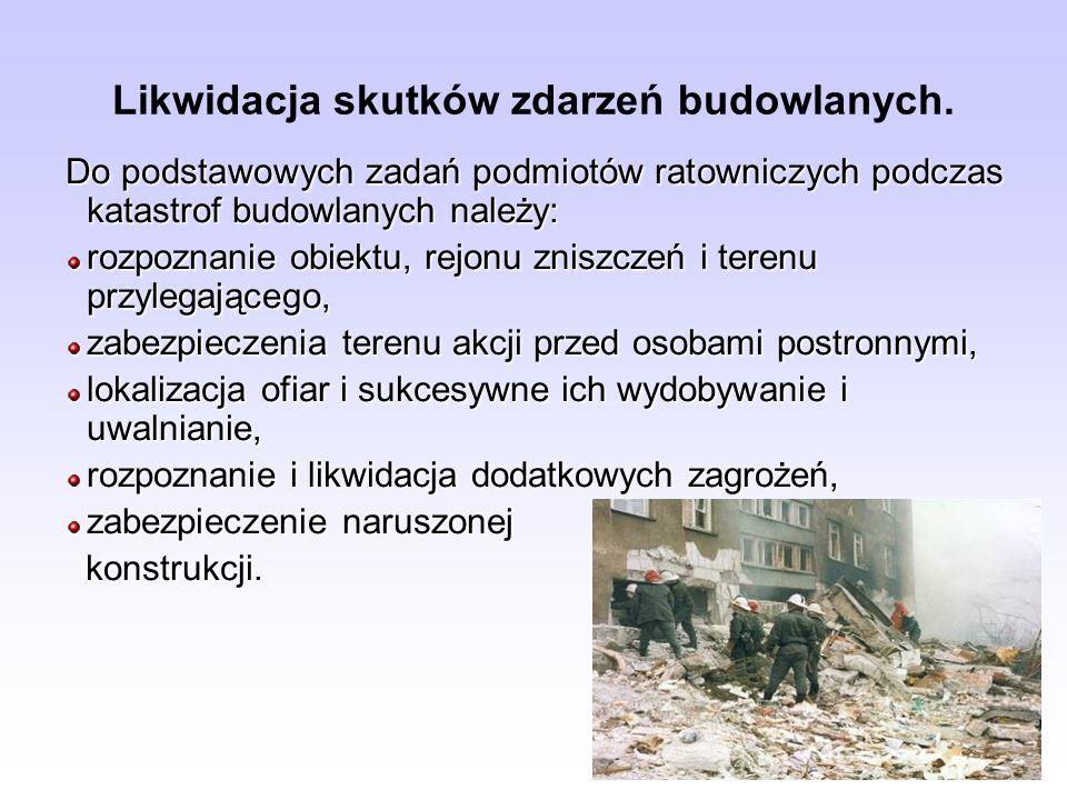 Do podstawowych zadań podmiotów ratowniczych podczas katastrof budowlanych należy: rozpoznanie obiektu, rejonu zniszczeń i terenu przylegającego, zabe