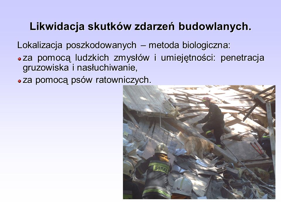 Lokalizacja poszkodowanych – metoda biologiczna: za pomocą ludzkich zmysłów i umiejętności: penetracja gruzowiska i nasłuchiwanie, za pomocą psów rato
