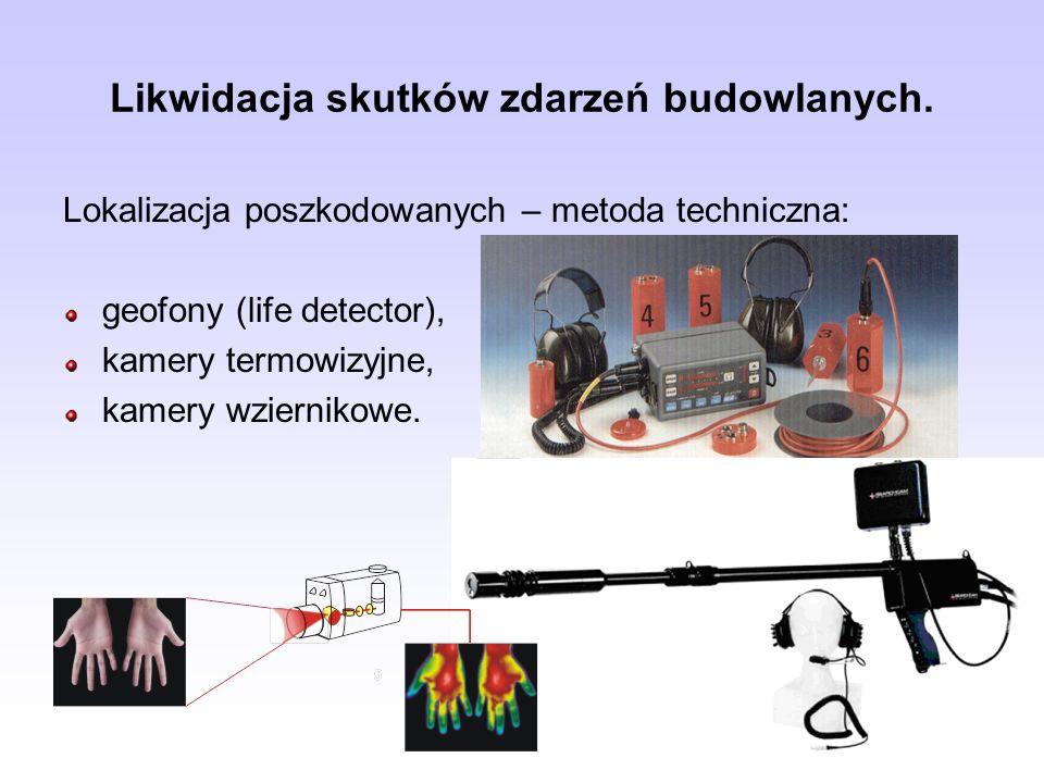 Likwidacja skutków zdarzeń budowlanych. Lokalizacja poszkodowanych – metoda techniczna: geofony (life detector), kamery termowizyjne, kamery wzierniko