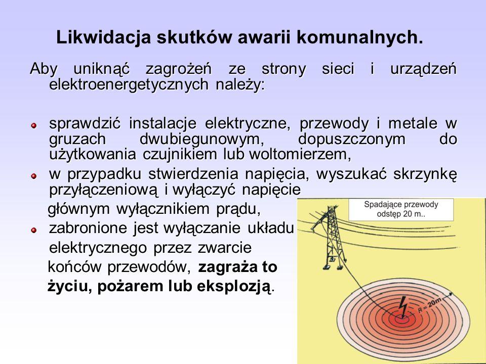 Likwidacja skutków awarii komunalnych. Aby uniknąć zagrożeń ze strony sieci i urządzeń elektroenergetycznych należy: sprawdzić instalacje elektryczne,
