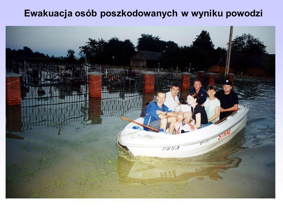 Działania ratownicze jednostek Państwowej Straży Pożarnej oraz sekcji ochotniczych straży pożarnych podczas powodzi polegają głównie na: Działania rat