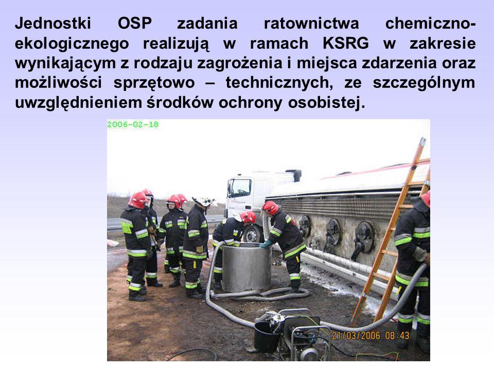 Jednostki OSP zadania ratownictwa chemiczno- ekologicznego realizują w ramach KSRG w zakresie wynikającym z rodzaju zagrożenia i miejsca zdarzenia ora