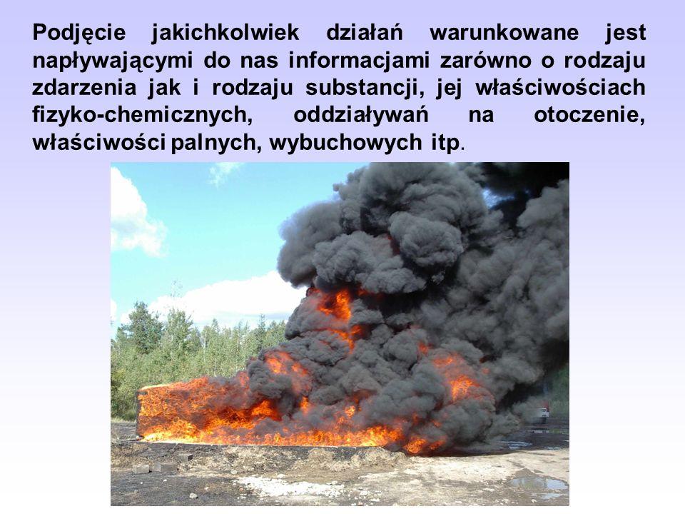 Podjęcie jakichkolwiek działań warunkowane jest napływającymi do nas informacjami zarówno o rodzaju zdarzenia jak i rodzaju substancji, jej właściwośc