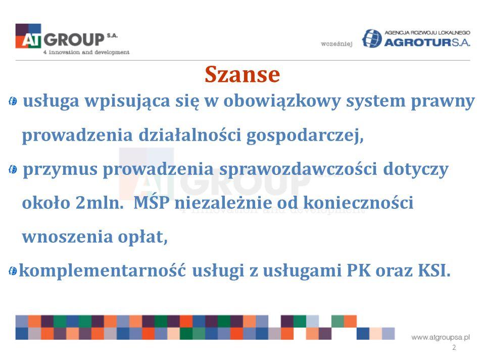 Szanse 2 usługa wpisująca się w obowiązkowy system prawny prowadzenia działalności gospodarczej, przymus prowadzenia sprawozdawczości dotyczy około 2mln.