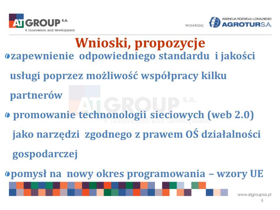 Wnioski, propozycje 6 zapewnienie odpowiedniego standardu i jakości usługi poprzez możliwość współpracy kilku partnerów promowanie technonologii sieciowych (web 2.0) jako narzędzi zgodnego z prawem OŚ działalności gospodarczej pomysł na nowy okres programowania – wzory UE