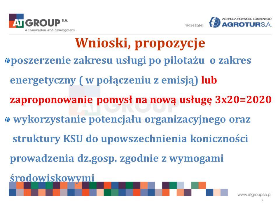 Wnioski, propozycje 7 poszerzenie zakresu usługi po pilotażu o zakres energetyczny ( w połączeniu z emisją) lub zaproponowanie pomysł na nową usługę 3x20=2020 wykorzystanie potencjału organizacyjnego oraz struktury KSU do upowszechnienia koniczności prowadzenia dz.gosp.