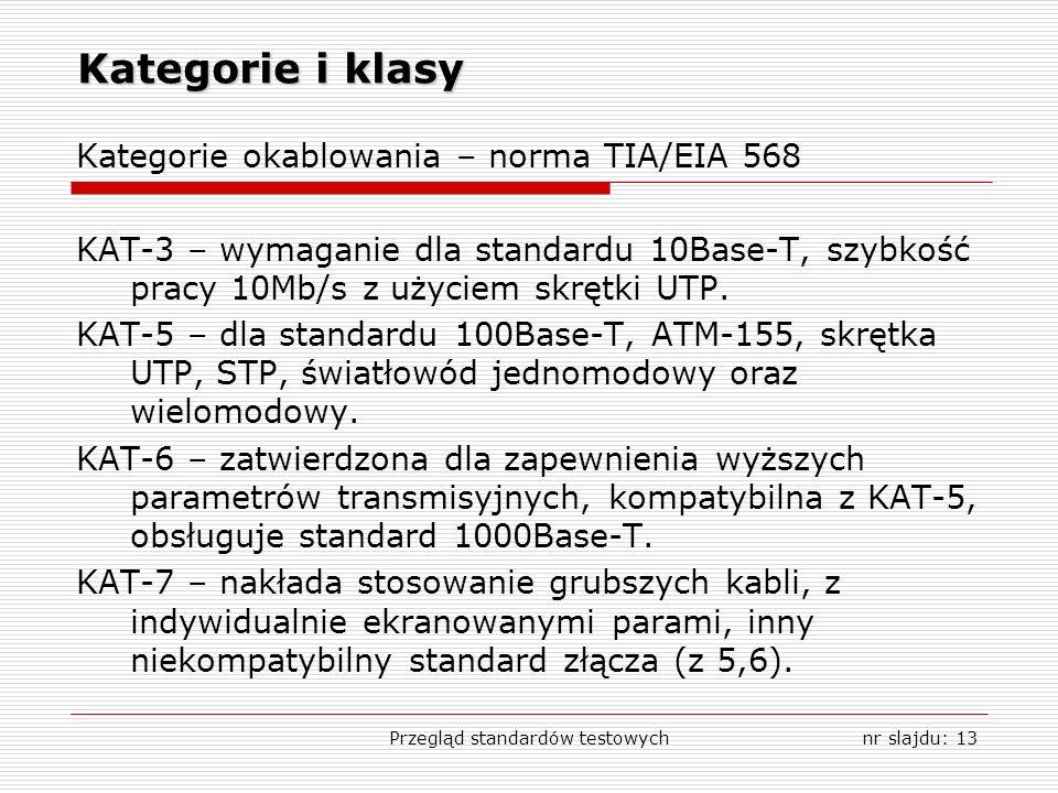 Przegląd standardów testowychnr slajdu: 13 Kategorie i klasy Kategorie okablowania – norma TIA/EIA 568 KAT-3 – wymaganie dla standardu 10Base-T, szybkość pracy 10Mb/s z użyciem skrętki UTP.