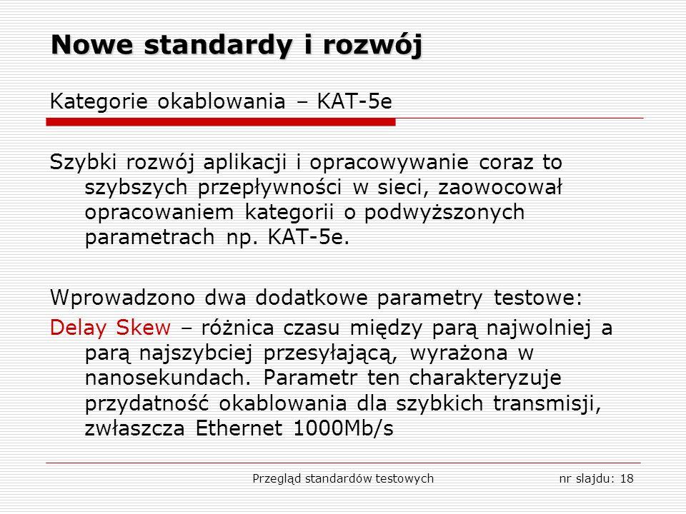 Przegląd standardów testowychnr slajdu: 18 Nowe standardy i rozwój Kategorie okablowania – KAT-5e Szybki rozwój aplikacji i opracowywanie coraz to szy