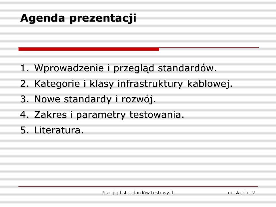 Przegląd standardów testowychnr slajdu: 2 Agenda prezentacji 1.Wprowadzenie i przegląd standardów. 2.Kategorie i klasy infrastruktury kablowej. 3.Nowe