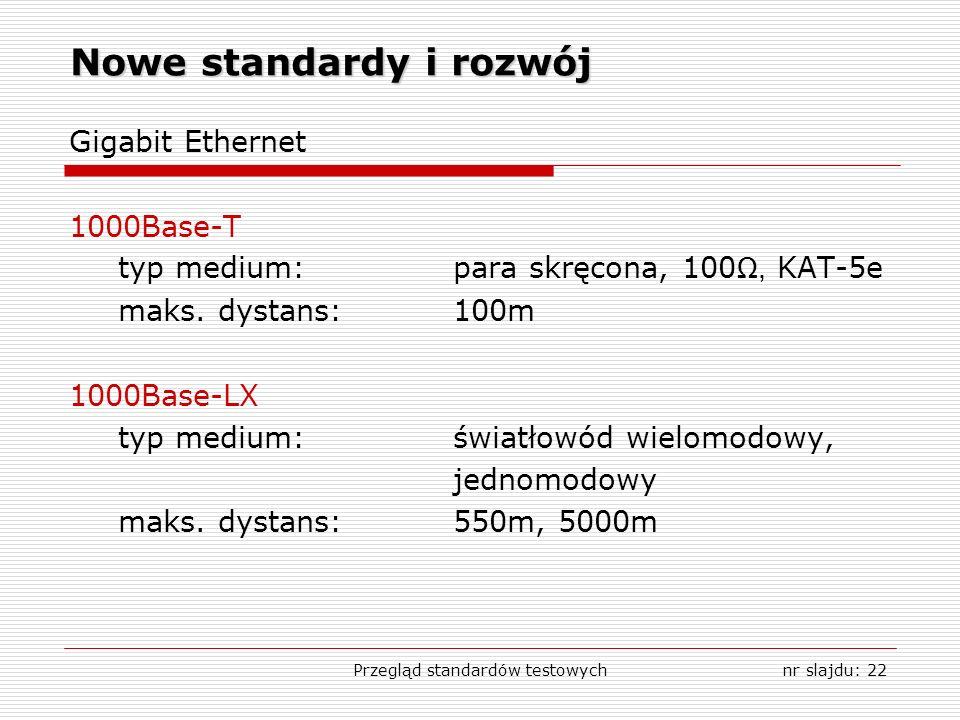 Przegląd standardów testowychnr slajdu: 22 Nowe standardy i rozwój Gigabit Ethernet 1000Base-T typ medium:para skręcona, 100, KAT-5e maks.