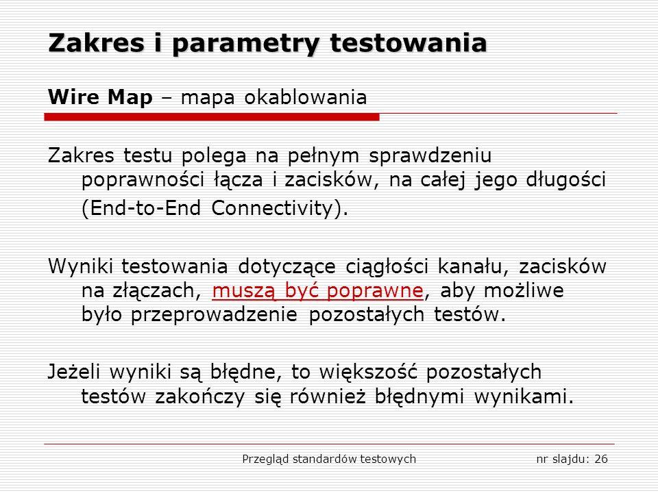 Przegląd standardów testowychnr slajdu: 26 Zakres i parametry testowania Wire Map – mapa okablowania Zakres testu polega na pełnym sprawdzeniu poprawn