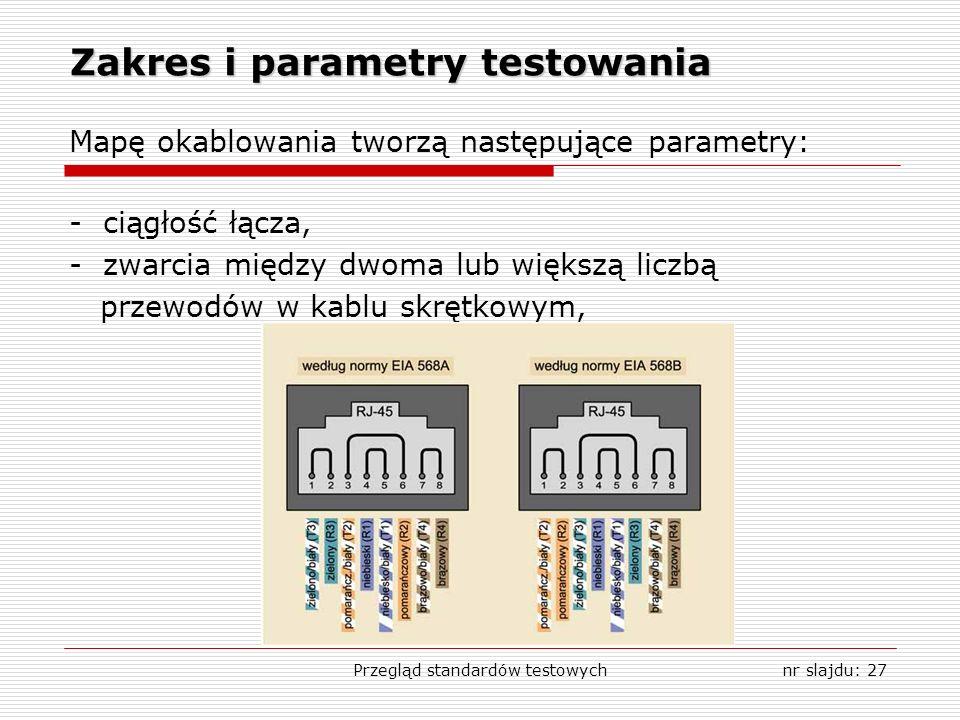 Przegląd standardów testowychnr slajdu: 27 Zakres i parametry testowania Mapę okablowania tworzą następujące parametry: - ciągłość łącza, - zwarcia między dwoma lub większą liczbą przewodów w kablu skrętkowym,