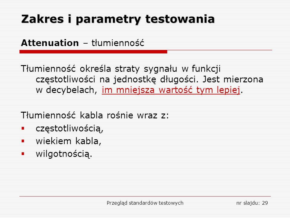 Przegląd standardów testowychnr slajdu: 29 Zakres i parametry testowania Attenuation – tłumienność Tłumienność określa straty sygnału w funkcji częstotliwości na jednostkę długości.