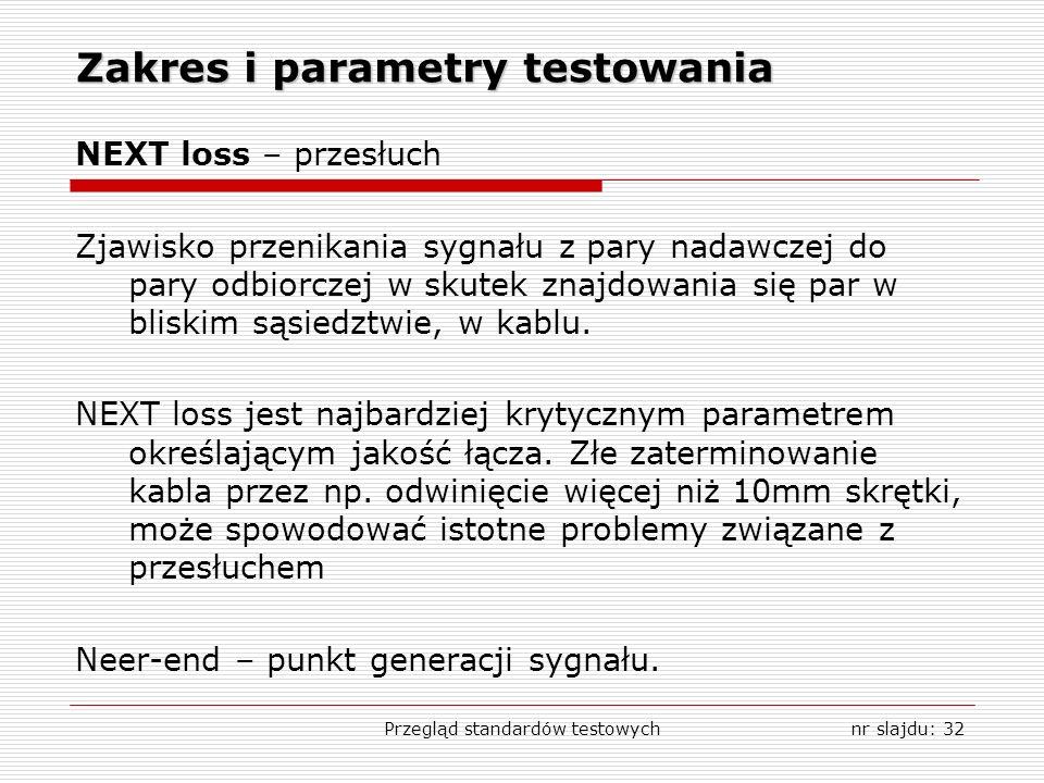 Przegląd standardów testowychnr slajdu: 32 Zakres i parametry testowania NEXT loss – przesłuch Zjawisko przenikania sygnału z pary nadawczej do pary odbiorczej w skutek znajdowania się par w bliskim sąsiedztwie, w kablu.