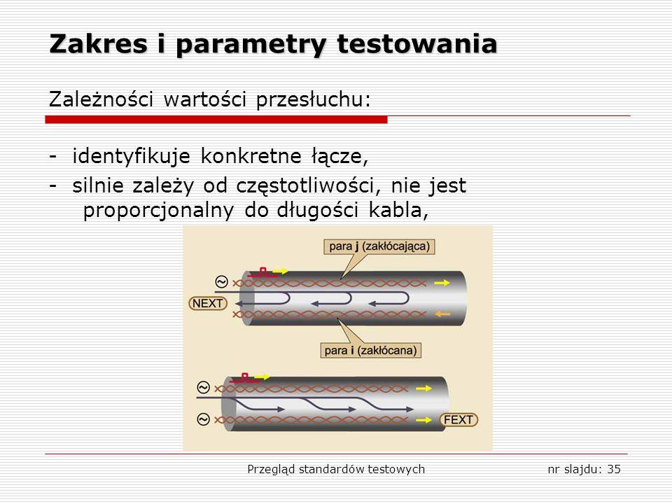 Przegląd standardów testowychnr slajdu: 35 Zakres i parametry testowania Zależności wartości przesłuchu: - identyfikuje konkretne łącze, - silnie zależy od częstotliwości, nie jest proporcjonalny do długości kabla,