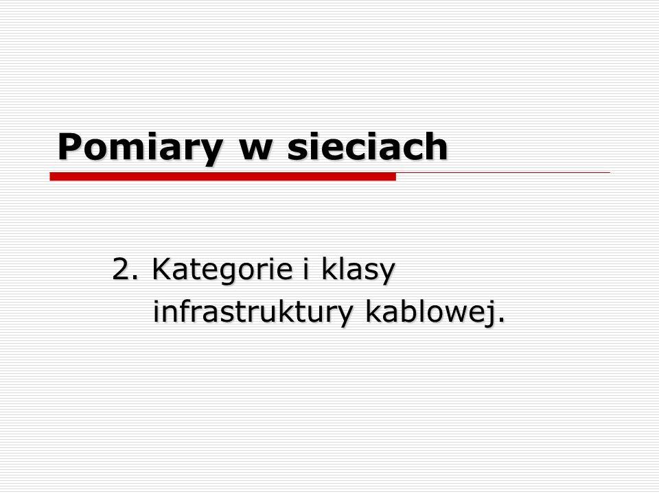 Pomiary w sieciach 2. Kategorie i klasy infrastruktury kablowej. infrastruktury kablowej.
