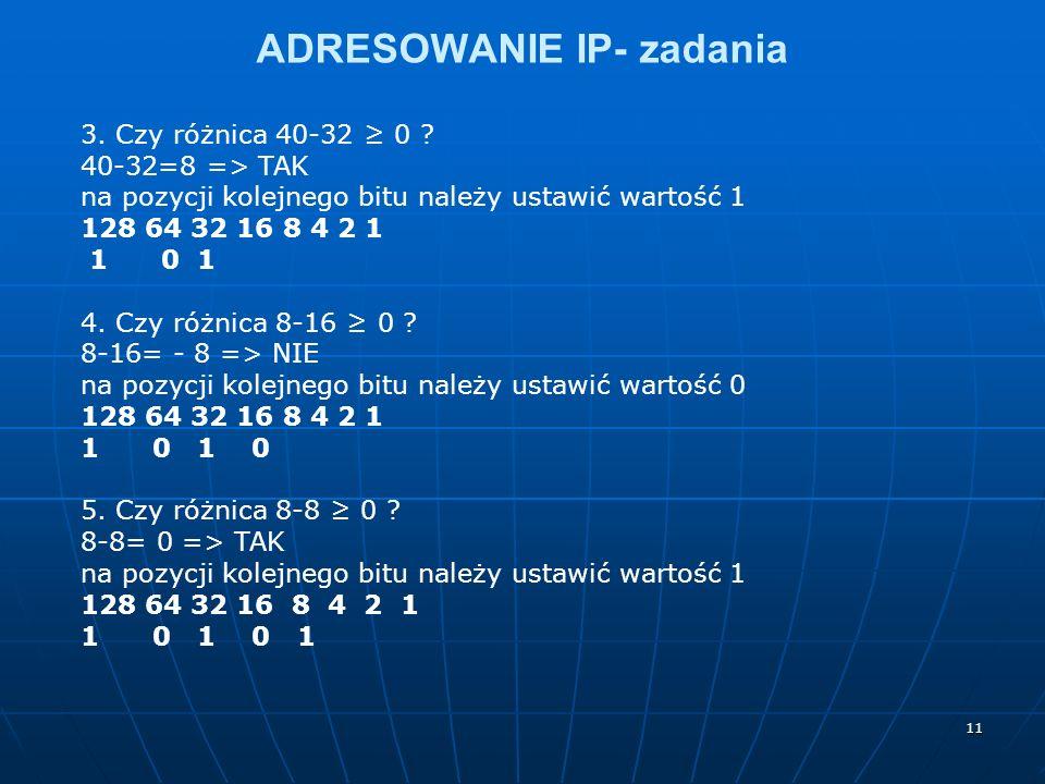 11 ADRESOWANIE IP- zadania 3. Czy różnica 40-32 0 ? 40-32=8 => TAK na pozycji kolejnego bitu należy ustawić wartość 1 128 64 32 16 8 4 2 1 1 0 1 4. Cz