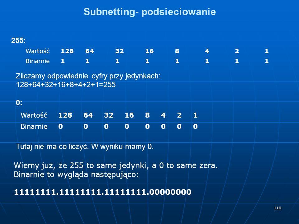 110 Subnetting- podsieciowanie 255: Wartość1286432168421 Binarnie11111111 Zliczamy odpowiednie cyfry przy jedynkach: 128+64+32+16+8+4+2+1=255 0: Wartość1286432168421 Binarnie00000000 Tutaj nie ma co liczyć.
