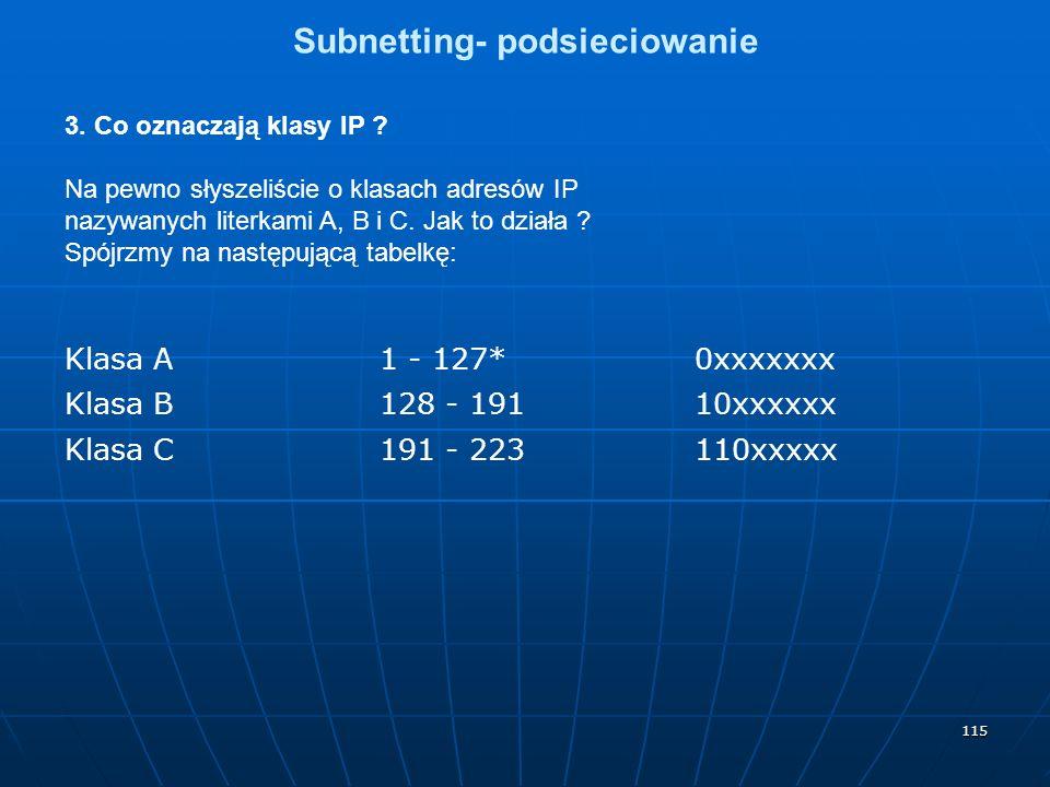 115 Subnetting- podsieciowanie 3. Co oznaczają klasy IP ? Na pewno słyszeliście o klasach adresów IP nazywanych literkami A, B i C. Jak to działa ? Sp