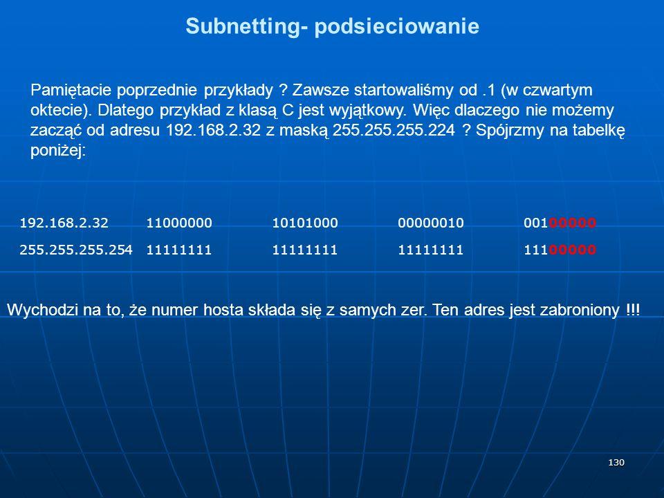 130 Subnetting- podsieciowanie Pamiętacie poprzednie przykłady ? Zawsze startowaliśmy od.1 (w czwartym oktecie). Dlatego przykład z klasą C jest wyjąt
