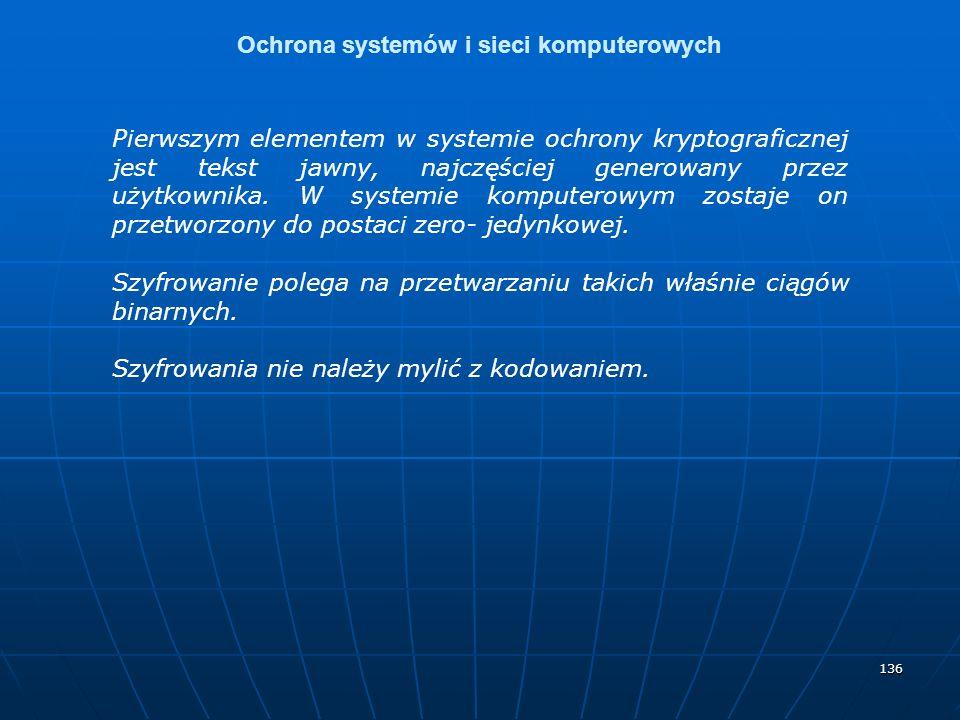 136 Ochrona systemów i sieci komputerowych Pierwszym elementem w systemie ochrony kryptograficznej jest tekst jawny, najczęściej generowany przez użyt