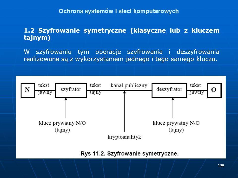 139 Ochrona systemów i sieci komputerowych 1.2 Szyfrowanie symetryczne (klasyczne lub z kluczem tajnym) W szyfrowaniu tym operacje szyfrowania i deszyfrowania realizowane są z wykorzystaniem jednego i tego samego klucza.