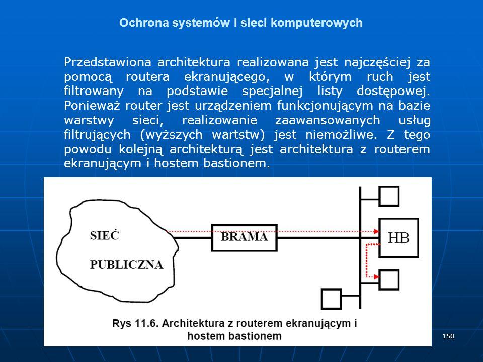 150 Ochrona systemów i sieci komputerowych Przedstawiona architektura realizowana jest najczęściej za pomocą routera ekranującego, w którym ruch jest filtrowany na podstawie specjalnej listy dostępowej.