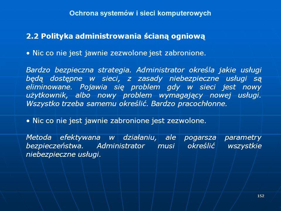 152 Ochrona systemów i sieci komputerowych 2.2 Polityka administrowania ścianą ogniową Nic co nie jest jawnie zezwolone jest zabronione.