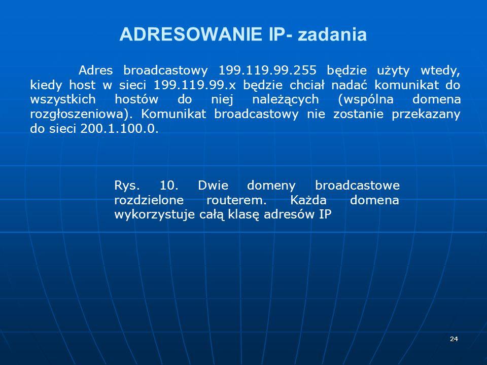 24 ADRESOWANIE IP- zadania Adres broadcastowy 199.119.99.255 będzie użyty wtedy, kiedy host w sieci 199.119.99.x będzie chciał nadać komunikat do wszystkich hostów do niej należących (wspólna domena rozgłoszeniowa).