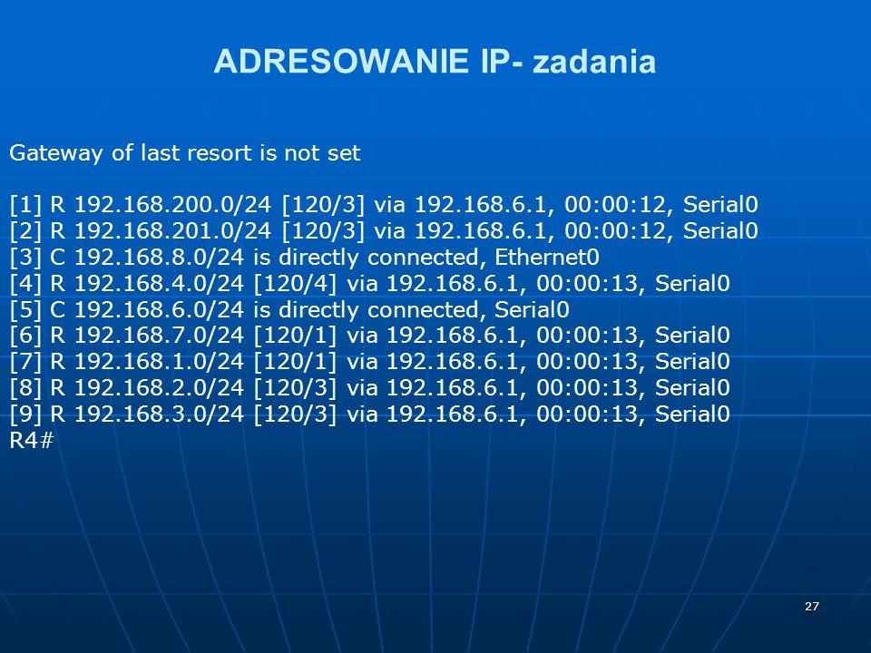 27 ADRESOWANIE IP- zadania Gateway of last resort is not set [1] R 192.168.200.0/24 [120/3] via 192.168.6.1, 00:00:12, Serial0 [2] R 192.168.201.0/24 [120/3] via 192.168.6.1, 00:00:12, Serial0 [3] C 192.168.8.0/24 is directly connected, Ethernet0 [4] R 192.168.4.0/24 [120/4] via 192.168.6.1, 00:00:13, Serial0 [5] C 192.168.6.0/24 is directly connected, Serial0 [6] R 192.168.7.0/24 [120/1] via 192.168.6.1, 00:00:13, Serial0 [7] R 192.168.1.0/24 [120/1] via 192.168.6.1, 00:00:13, Serial0 [8] R 192.168.2.0/24 [120/3] via 192.168.6.1, 00:00:13, Serial0 [9] R 192.168.3.0/24 [120/3] via 192.168.6.1, 00:00:13, Serial0 R4#