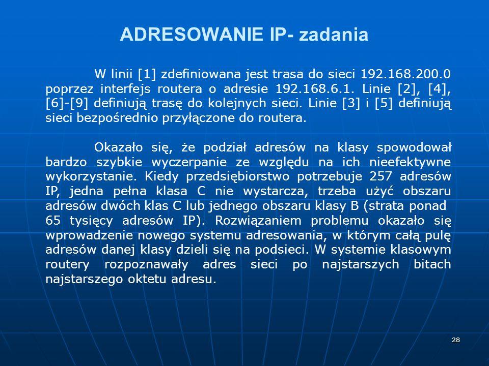 28 ADRESOWANIE IP- zadania W linii [1] zdefiniowana jest trasa do sieci 192.168.200.0 poprzez interfejs routera o adresie 192.168.6.1. Linie [2], [4],