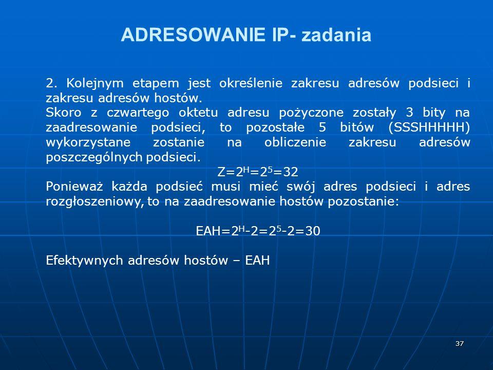 37 ADRESOWANIE IP- zadania 2. Kolejnym etapem jest określenie zakresu adresów podsieci i zakresu adresów hostów. Skoro z czwartego oktetu adresu pożyc