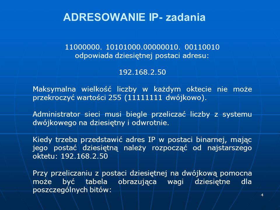 4 ADRESOWANIE IP- zadania 11000000. 10101000.00000010. 00110010 odpowiada dziesiętnej postaci adresu: 192.168.2.50 Maksymalna wielkość liczby w każdym