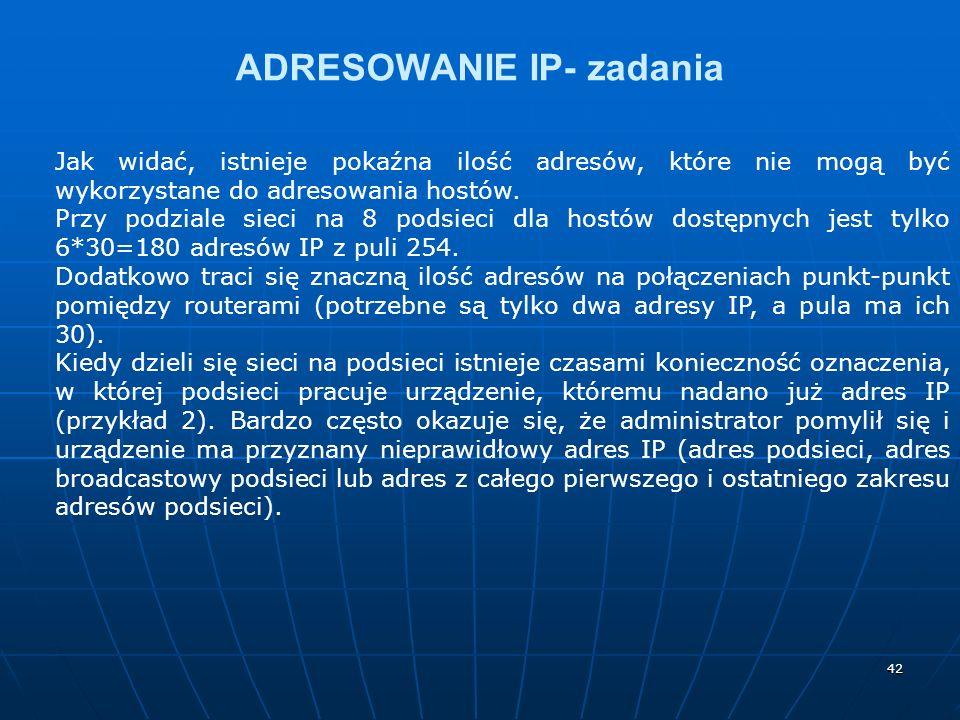 42 ADRESOWANIE IP- zadania Jak widać, istnieje pokaźna ilość adresów, które nie mogą być wykorzystane do adresowania hostów.
