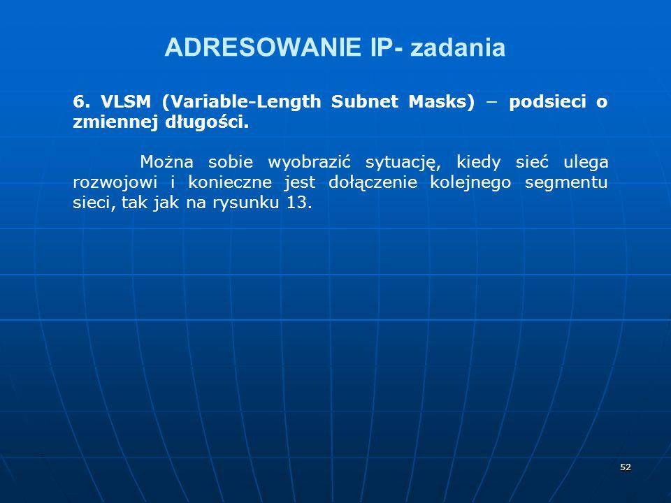 52 ADRESOWANIE IP- zadania 6. VLSM (Variable-Length Subnet Masks) podsieci o zmiennej długości. Można sobie wyobrazić sytuację, kiedy sieć ulega rozwo