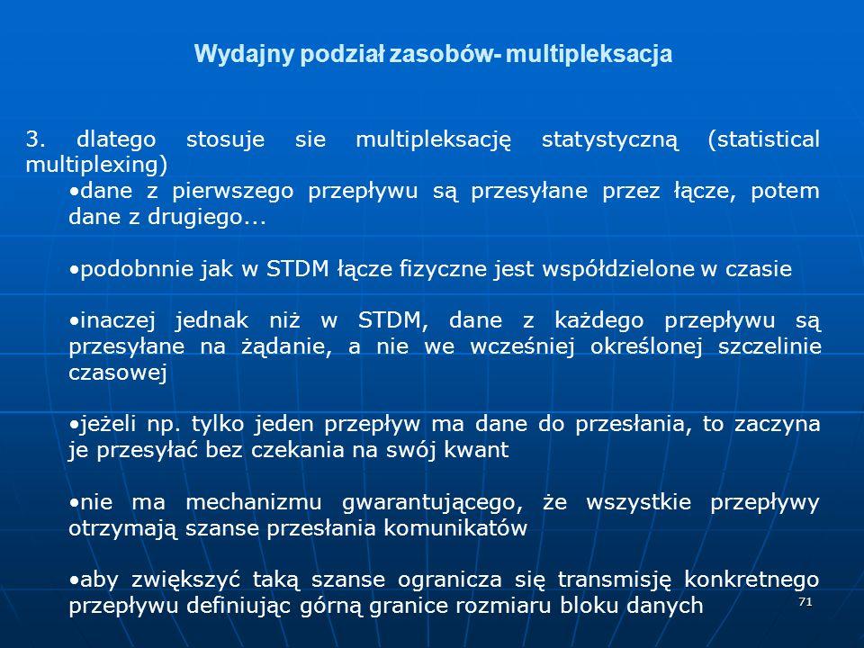 71 Wydajny podział zasobów- multipleksacja 3.