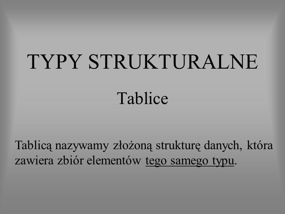 TYPY STRUKTURALNE Tablice Tablicą nazywamy złożoną strukturę danych, która zawiera zbiór elementów tego samego typu.