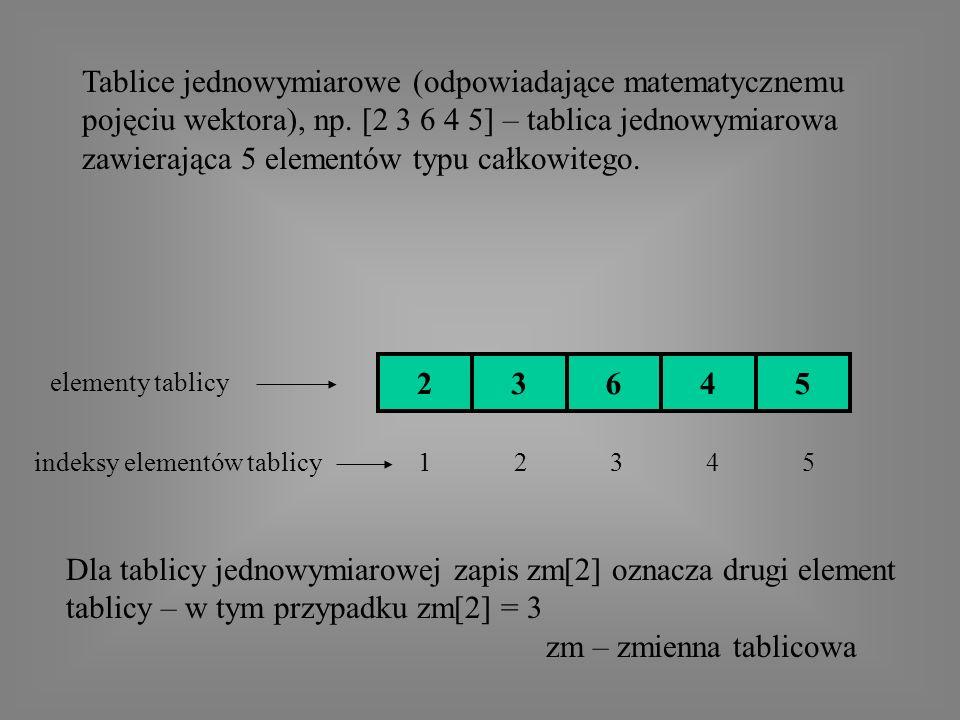 Tablice jednowymiarowe (odpowiadające matematycznemu pojęciu wektora), np.