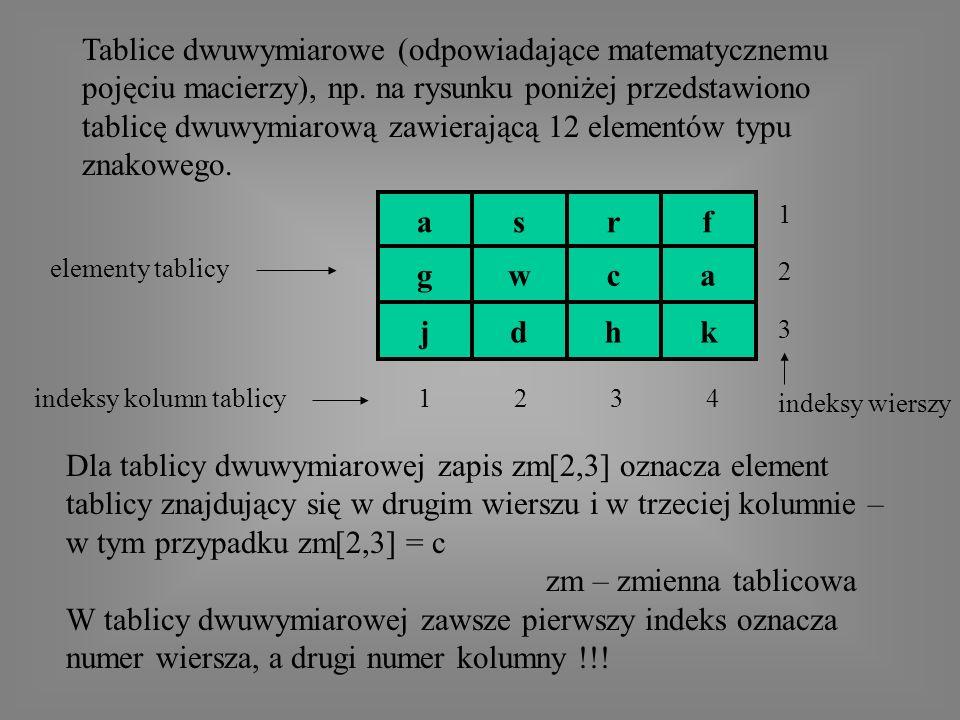 Tablice dwuwymiarowe (odpowiadające matematycznemu pojęciu macierzy), np.